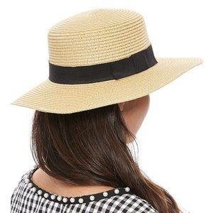 Wide Brim Hat Flat Top Honey Gold